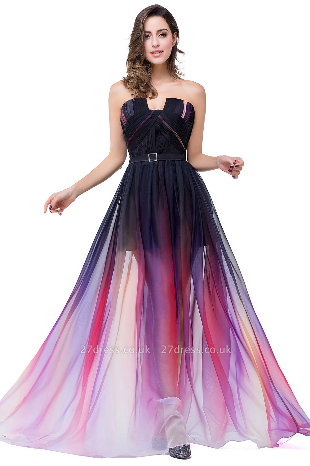 ELISABETH | A-line Floor-length Strapless Tulle Prom Dresses with Sash