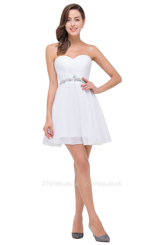 Short Sweetheart Chiffon White Sexy Crystal Homecoming Dress UK