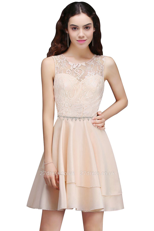 Sexy A-line Sleeveless Beading Tiers Lace Homecoming Dress UKes UK