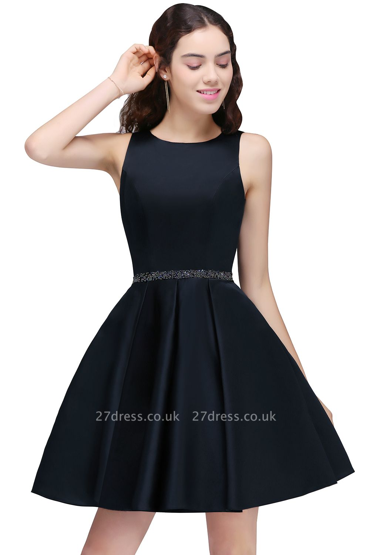 A-Line Beadings Sleeveless Sequare Black Short Homecoming Dress UKes UK