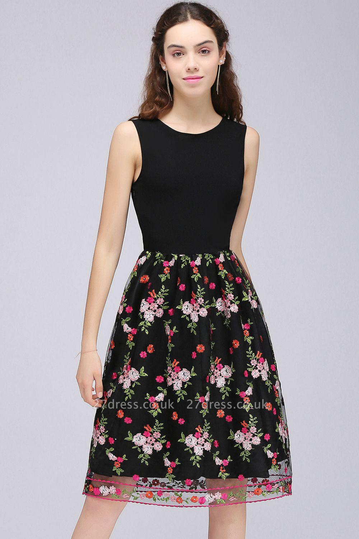 Sleeveless Short A-Line Tulle Black Flowers Homecoming Dress UKes UK