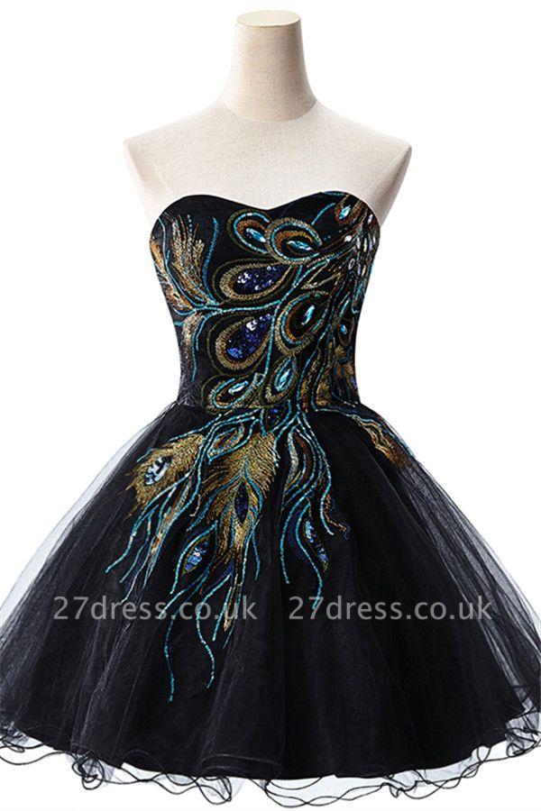 Elegant Black Sweetheart Short Tulle Homecoming Dress UK Peacock Design