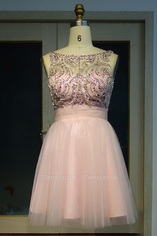 Fashion Pink Jewel Cap-Sleeve Tulle Short Cocktail Dress UKes UK