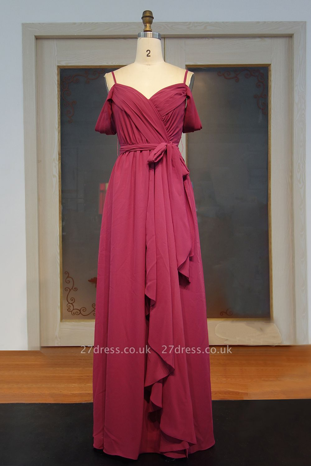 Off-the-Shoulder Chiffon Bridesmaid Dress UK | Long Wedding Party Dress UK