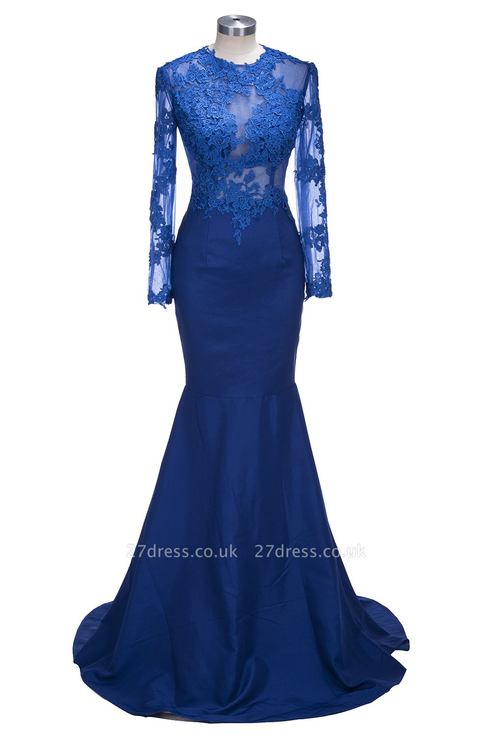 Delicate Royal Blue Lace Appliques Evening Dress UK Mermaid Long Sleeve BK0