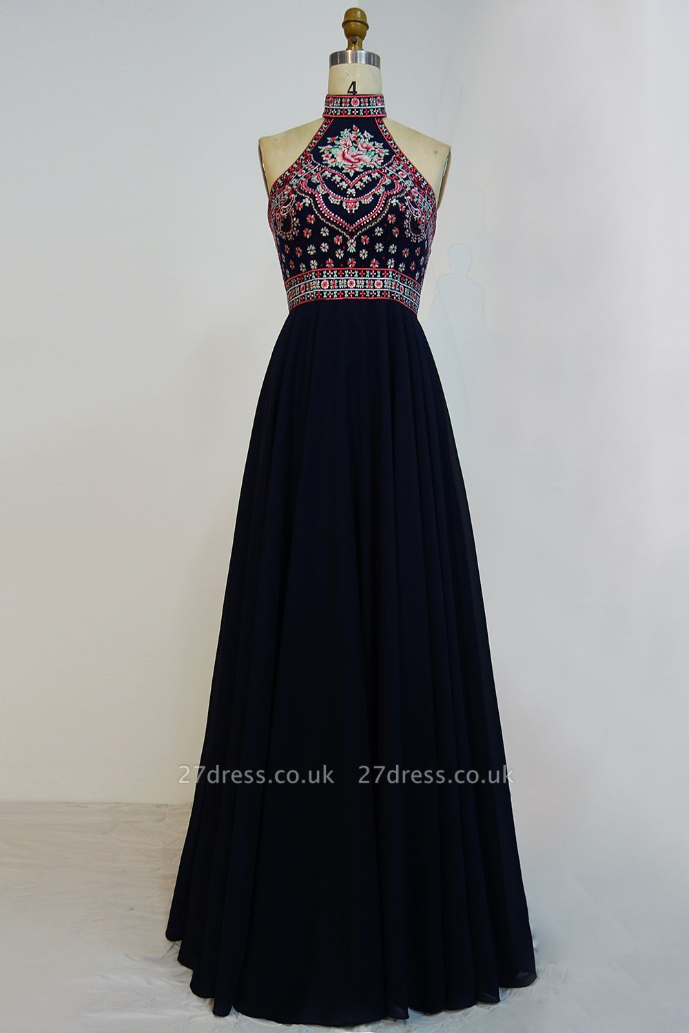 Halter Backless Black Sexy Long Chiffon Evening Dress UKes UK