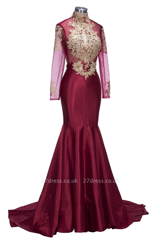 Mermaid Gold-Appliques Long-Sleeves Burgundy Keyhole Open-Back Prom Dress UKes UK ly164