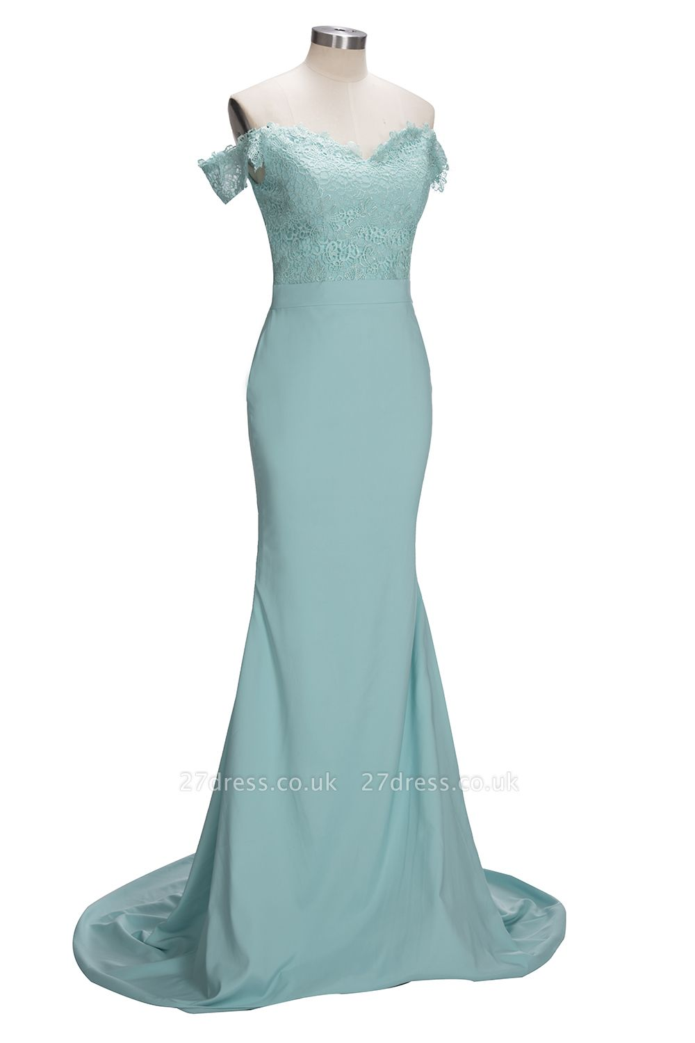Long Mermaid Mint Lace Off-the-Shoulder Bridesmaid Dress UK