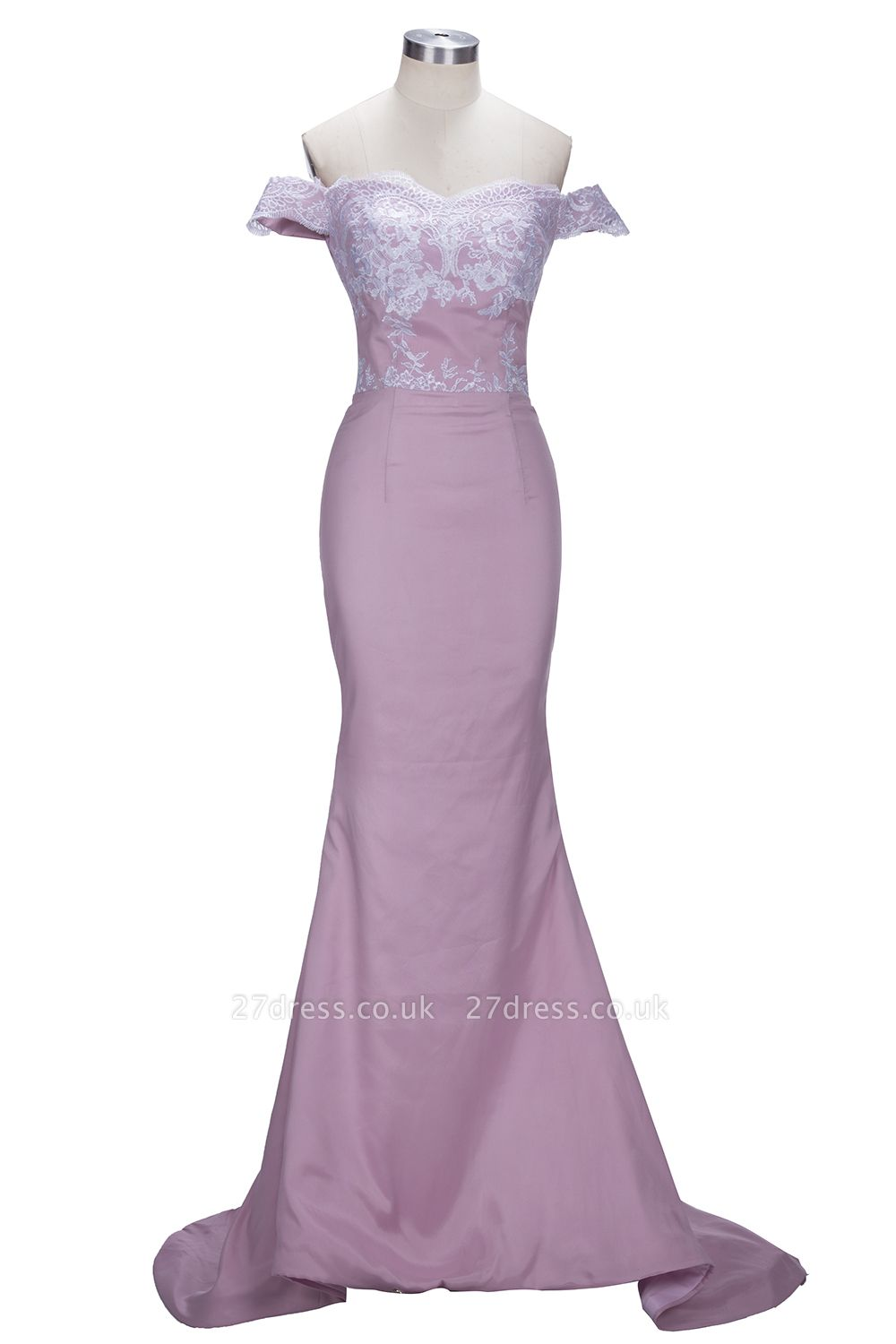 Blush Pink Off-the-Shoulder Lace Appliques Mermaid Prom Dress UKes UK