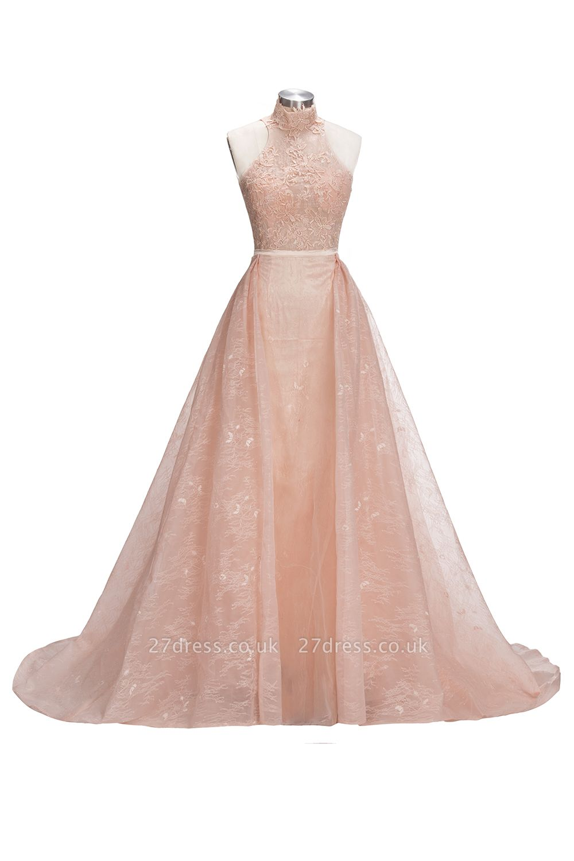 Popular Illusion Sleeveless High-Neck Unique Lace Sheath Puffy Overskirt Prom Dress UK jj0157