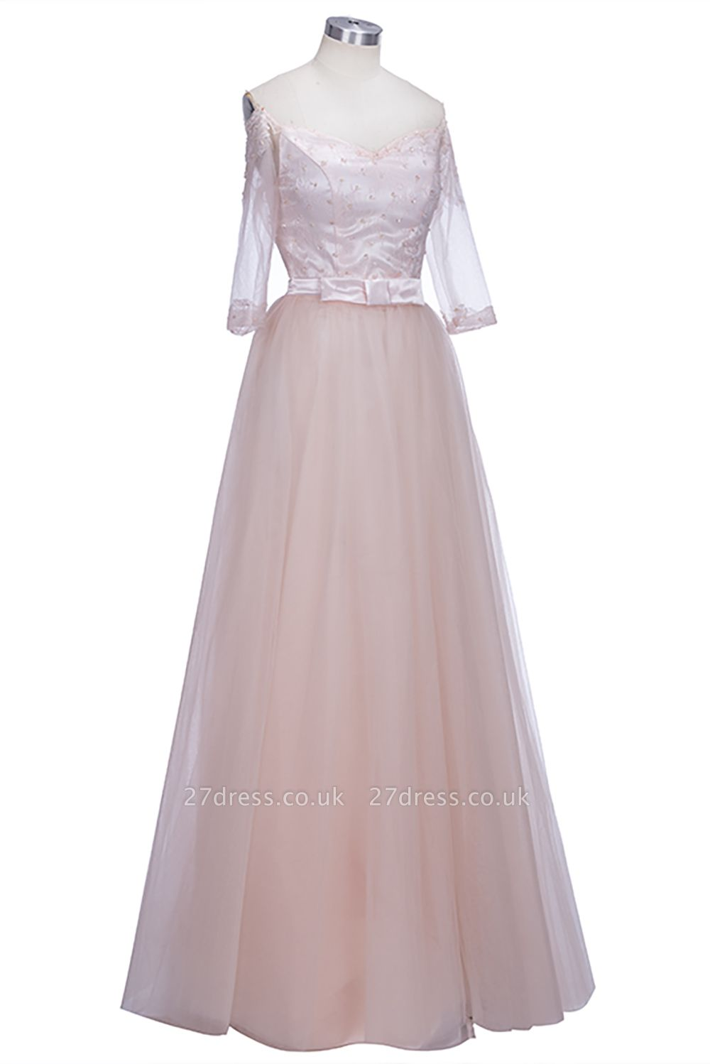 Off-the-shoulder Tulle Lace A-line Gorgeous Half-Sleeves Prom Dress UKes UK