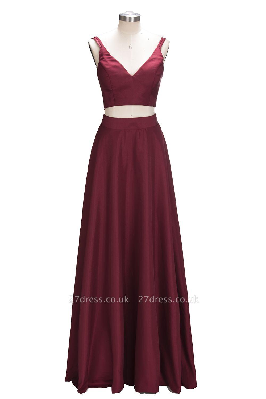Straps Two-Piece Sexy A-line Sleeveless Burgundy Prom Dress UK SP0316