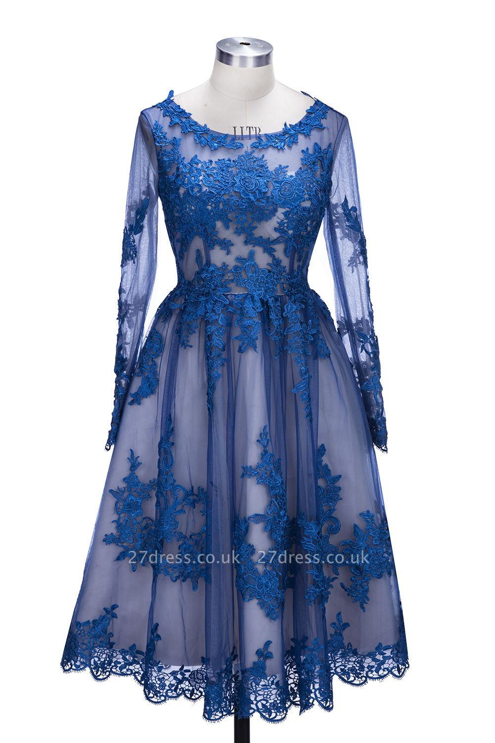 Delicate Ruyal Blue Appliques Prom Dress UK Long Sleeve