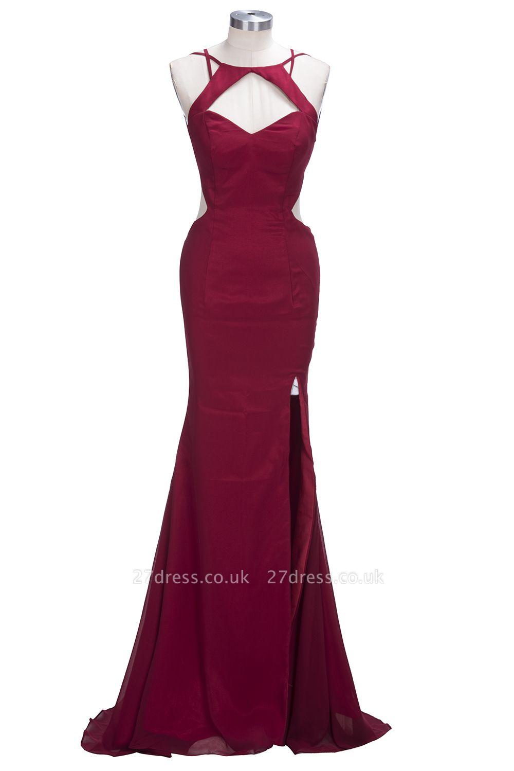 Elegant Burgundy Mermaid Prom Dress UKes UK Front Split Long BK0