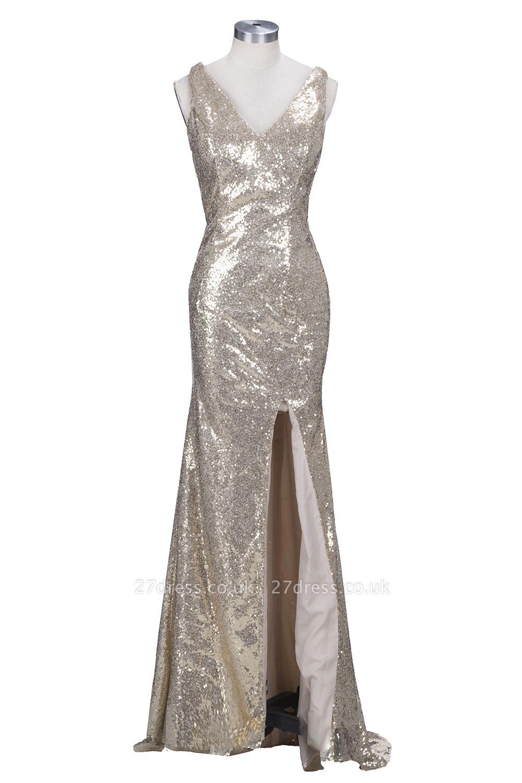 Sparkly Sheath Split Long Elegant V-neck Champagne Sequined Prom Dress UKes UK jj0020 BK0