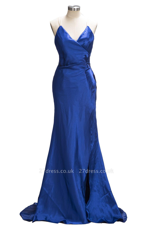 Royal-Blue Open-Back V-Neck A-Line Side-Slit Elegant Evening Dress UK qq0194