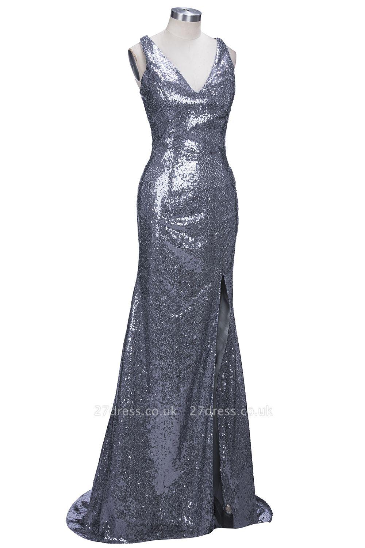 Gorgeous V-Neck Sleeveless Sequins Mermaid Prom Dress UK TH304