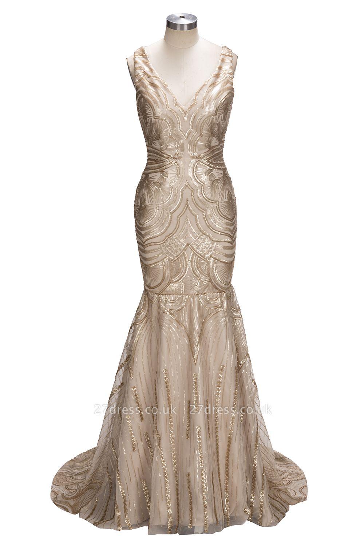 Luxury V-Neck Mermaid Sequins Prom Dress UK