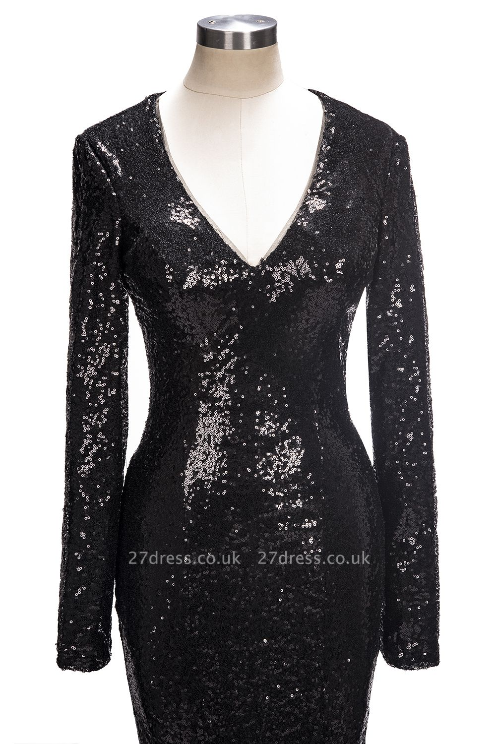 Black sequins prom Dress UK, long sleeve mermaid evening gowns