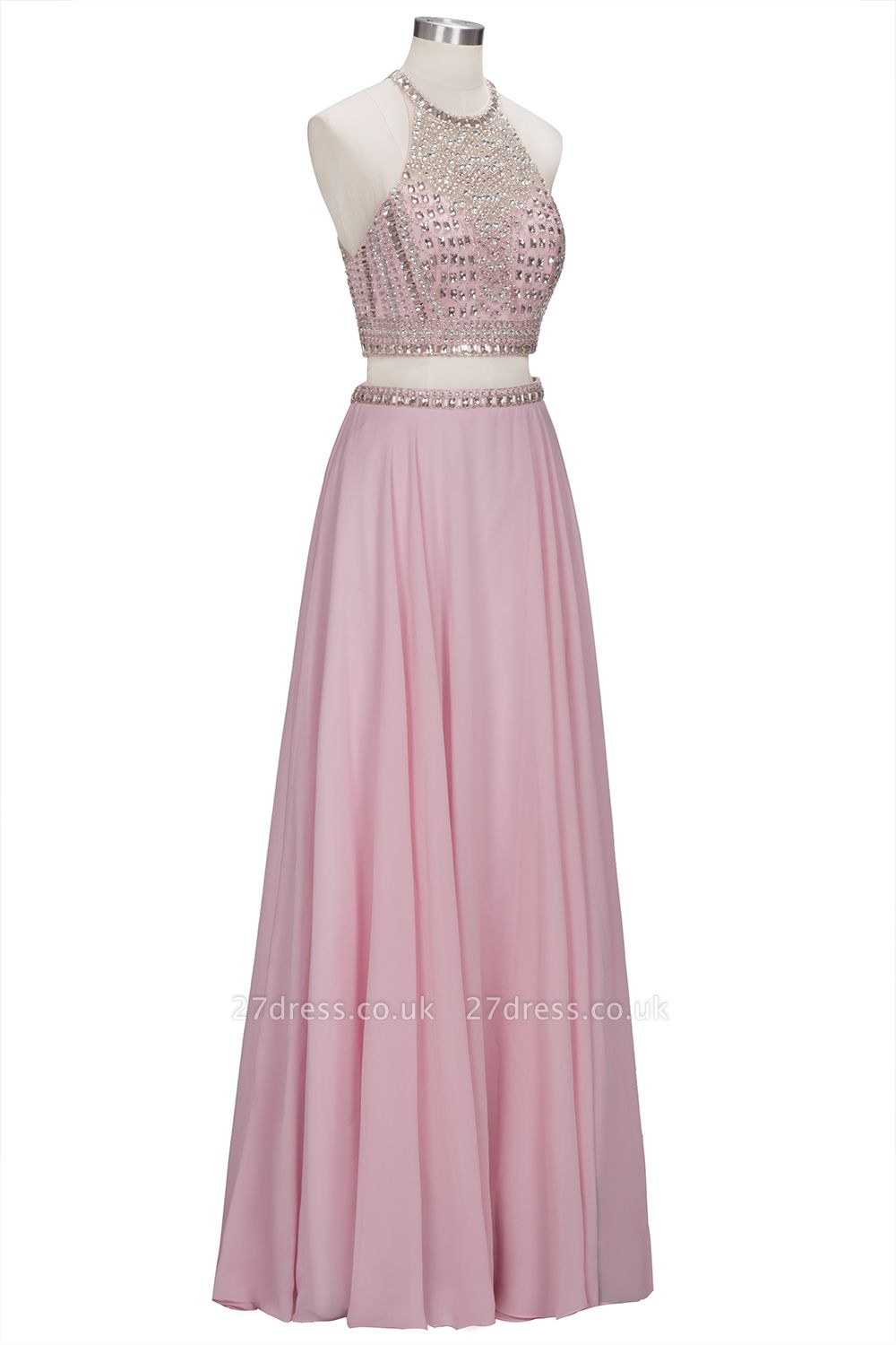 Pink Crystals Floor-length A-line Two-piece Delicate Evening Dress UK