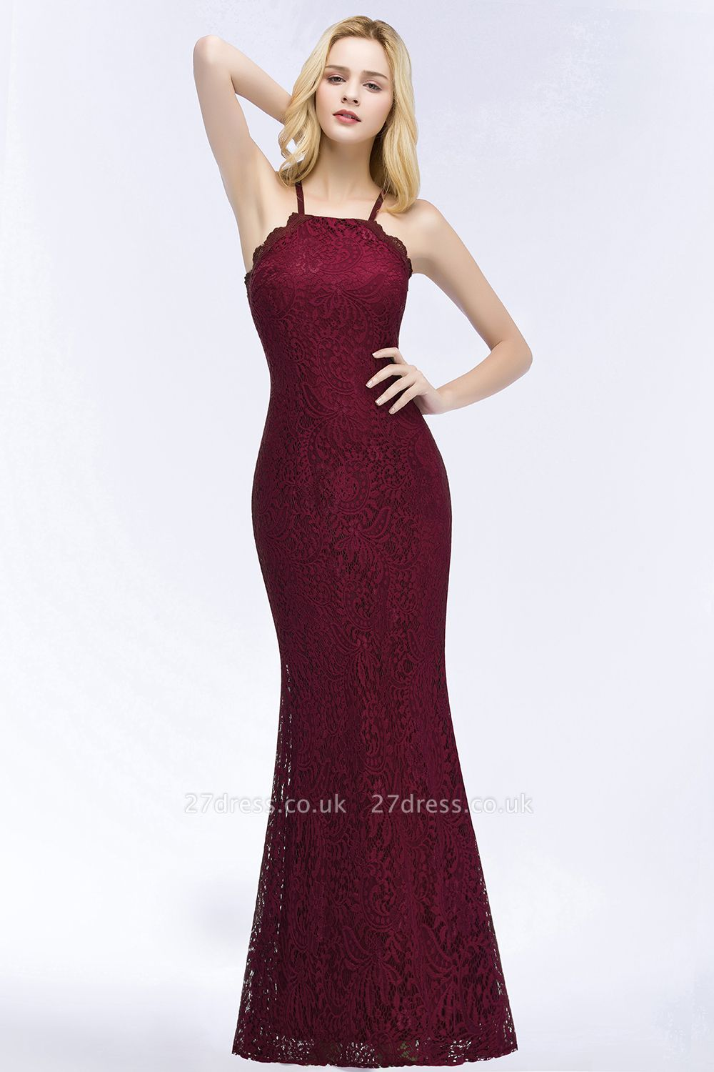 Elegant Mermaid Floor Length Halter Lace Burgundy Bridesmaid Dress UK UKes