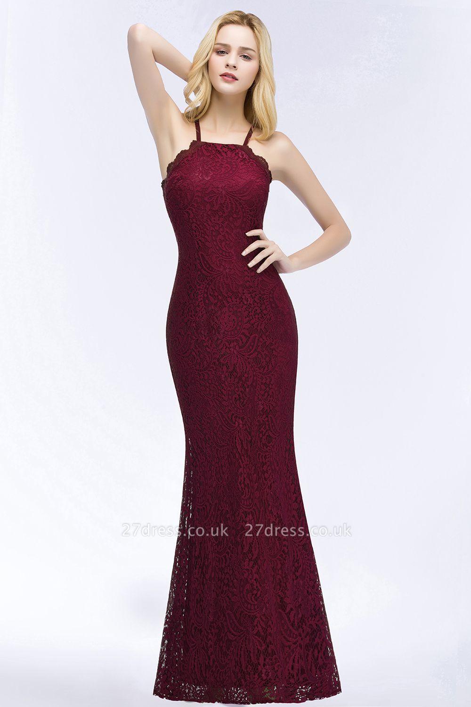 Elegant Mermaid Floor Length Halter Lace Burgundy Bridesmaid Dress UK UKes