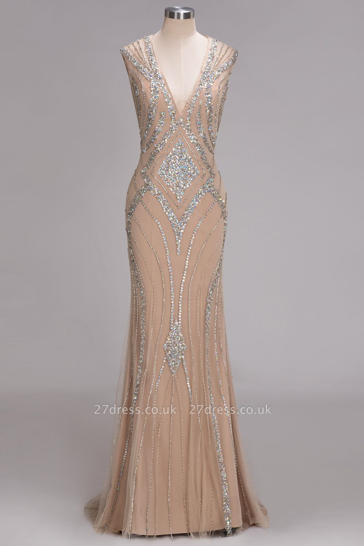 Sleeveless Beadings Long Mermaid V-Neck Luxury Crystal Prom Dress UK
