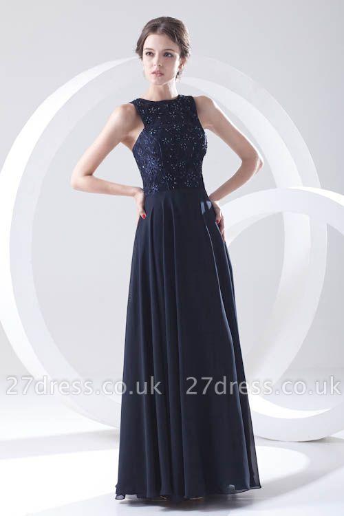 Sleeveless Long Beadings Chiffon Lace Sexy Bridesmaid Dress UK