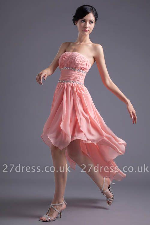 Modern Chiffon Pink Beadings Cocktail Dress UK Short Strapless