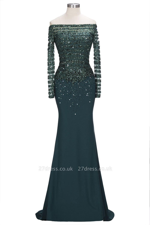 off-the-Shoulder Dark-Green Long-Sleeves Sequins Mermaid Evening Dress UK