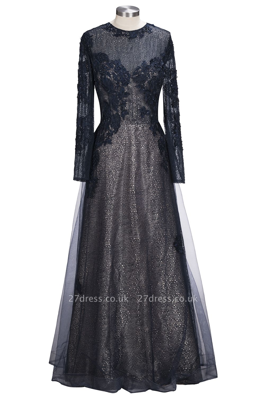 Lace-Appliques Black Long-sleeve Modern Scoop Evening Dress UK