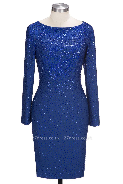 Knee-Length Beading Sheath Long-Sleeves Royal-Blue Formal Dress UKes UK