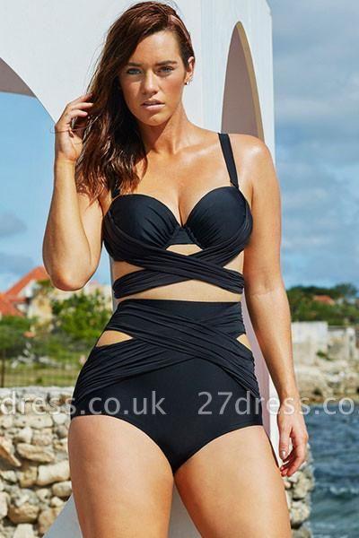 Plus Size Black Wrap Underwire High Waist Sexy Bikini