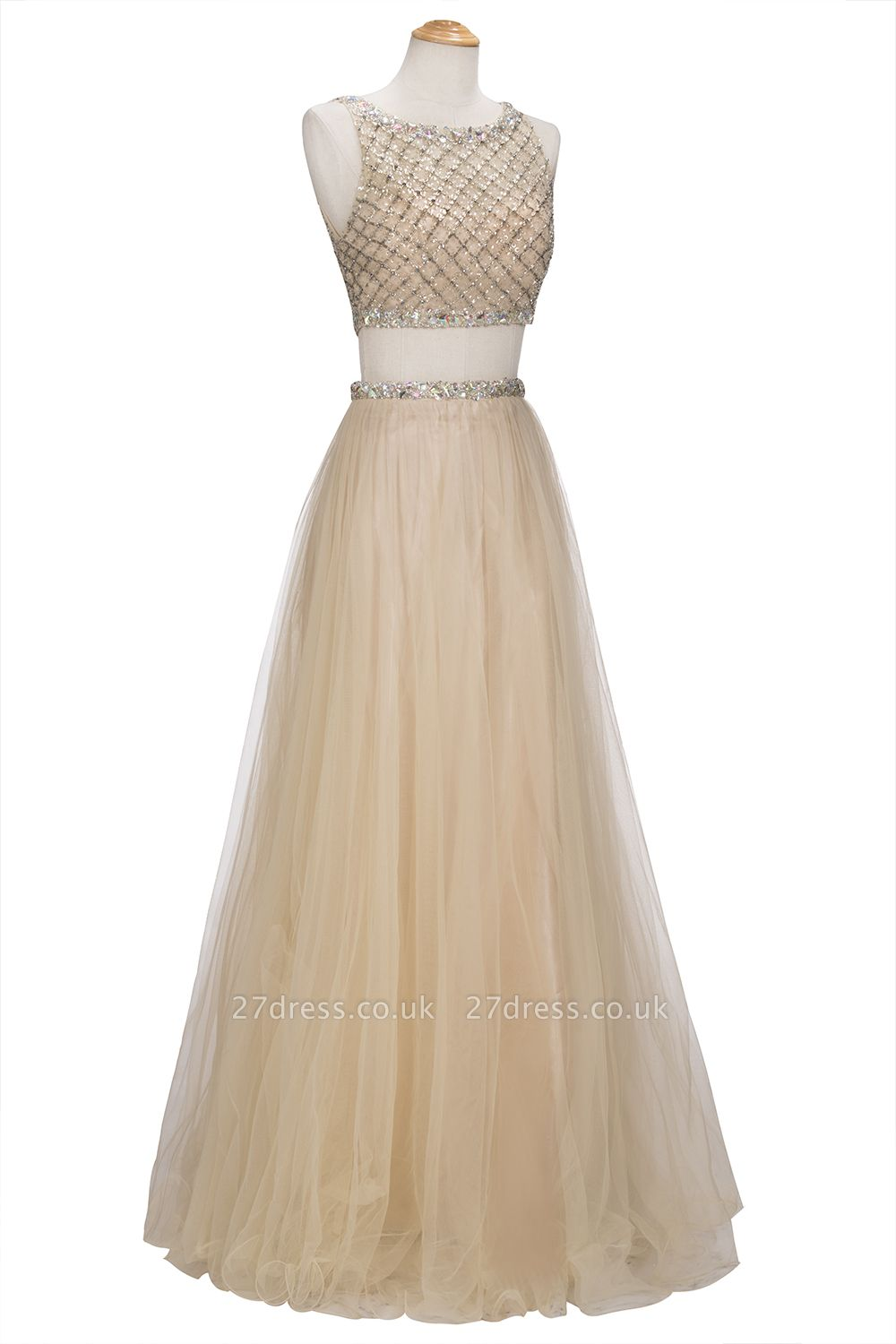 Chic Beading Tulle Two-Piece A-line Prom Dress UKes UK
