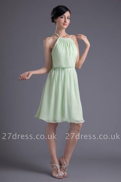 Short Zipper Halter Chiffon Backless Sexy Bridesmaid Dress UK