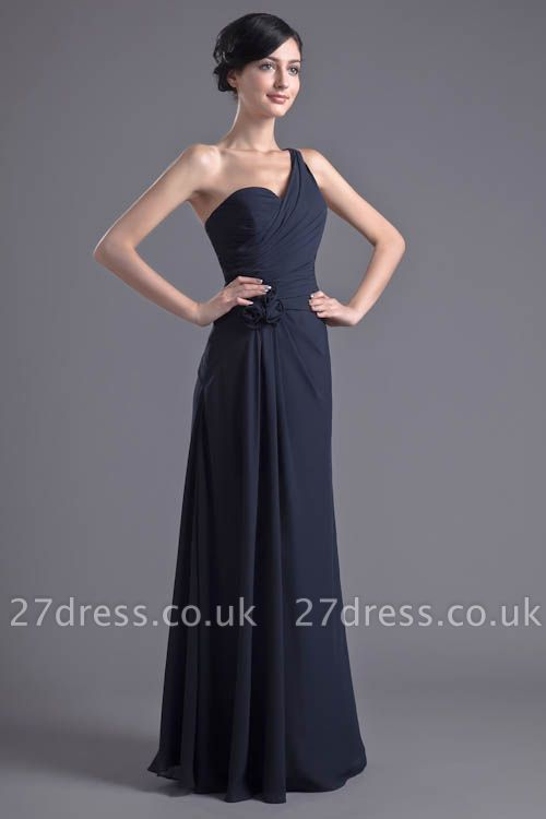 Sexy A-Line Flower One-Shoulder Floor-Length Bridesmaid Dress UKes UK
