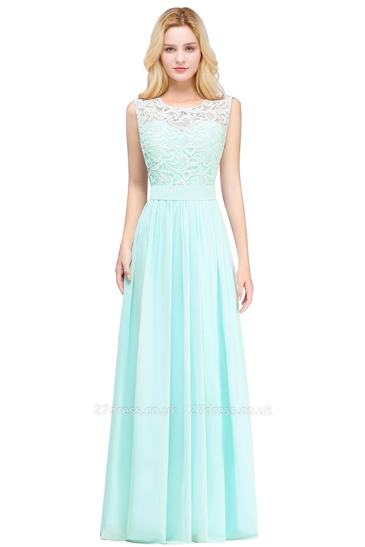 Pink Long Sleeveless Sheer-Back Prom Dress UK Sexy Lace Chiffon Bridesmaid Dress UK