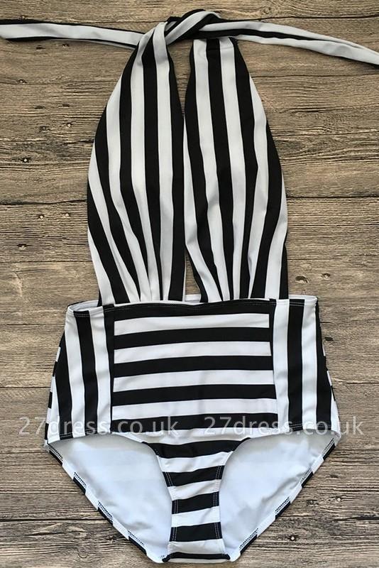 Black and white stripes One-piece Swimwear