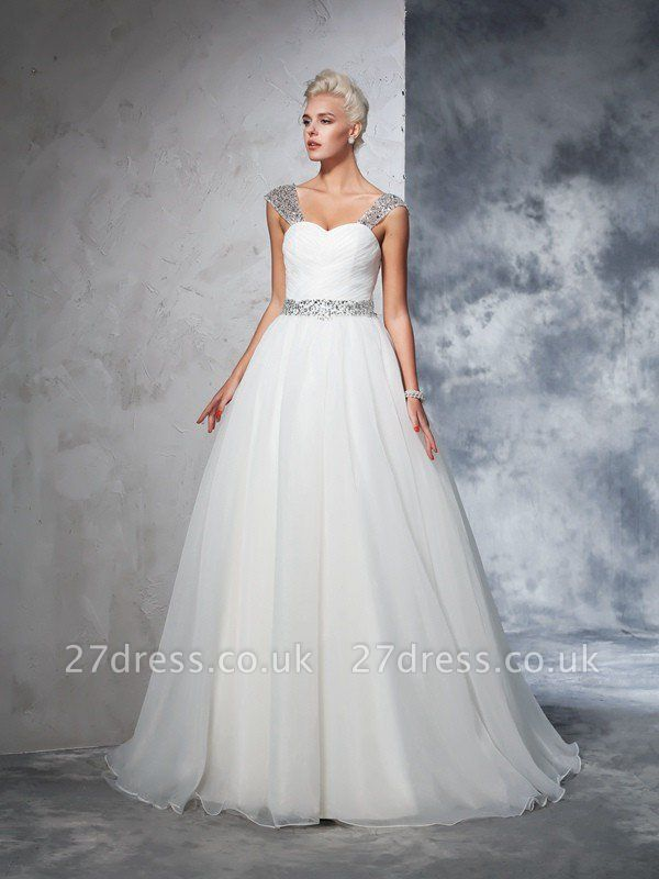 Long Tulle Cheap Ball Gown Straps Ruched Sleeveless Wedding Dresses UK