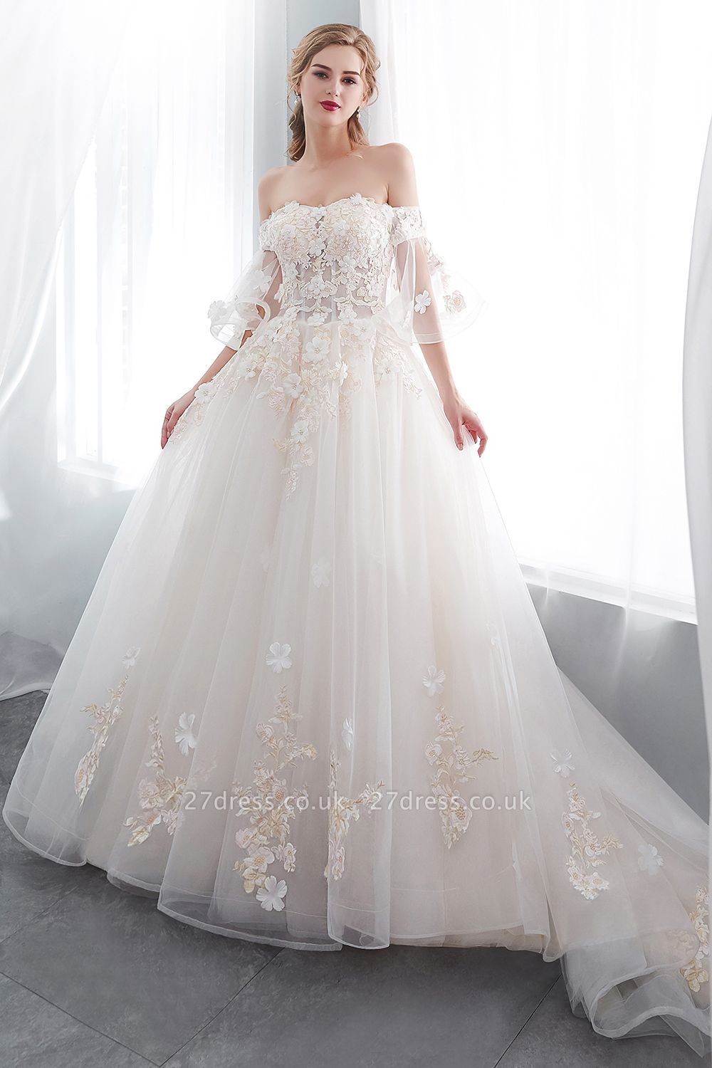 NANCE | Ball Gown Off-the-shoulder Floor Length Appliques Tulle Cheap Wedding Dresses UK