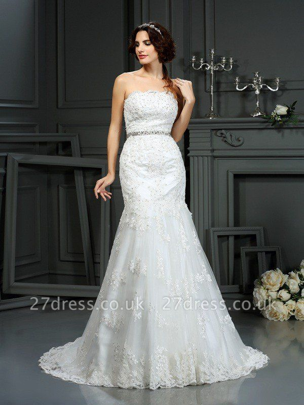 Sexy Mermaid Strapless Sleeveless Beads Long Lace Wedding Dresses UK