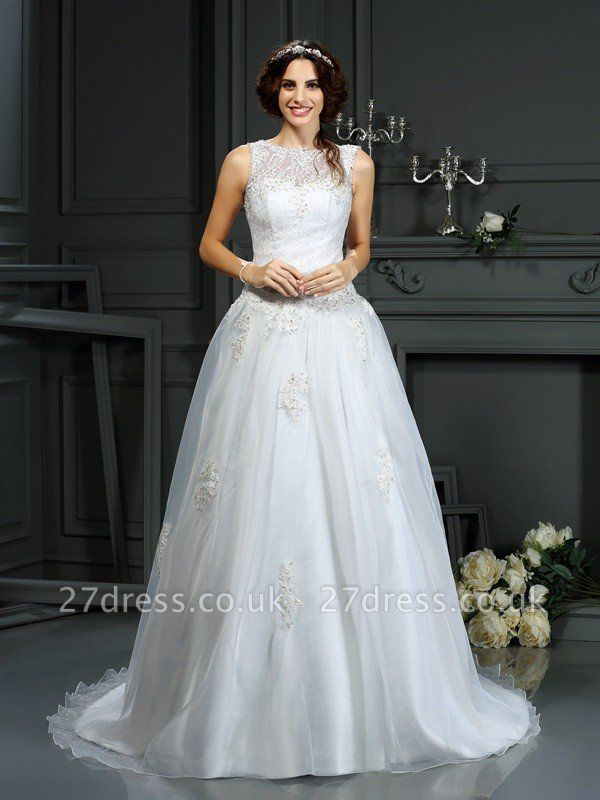A-Line Scoop Neckline Sleeveless Long Applique Tulle Cheap Wedding Dresses UK