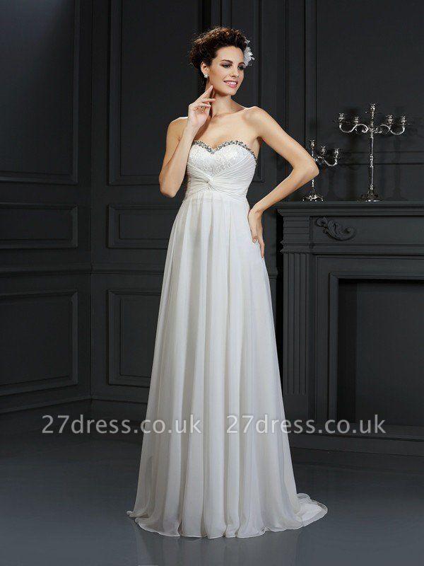 A-Line Sweetheart Sleeveless Ruffles Long  Wedding Dresses UK