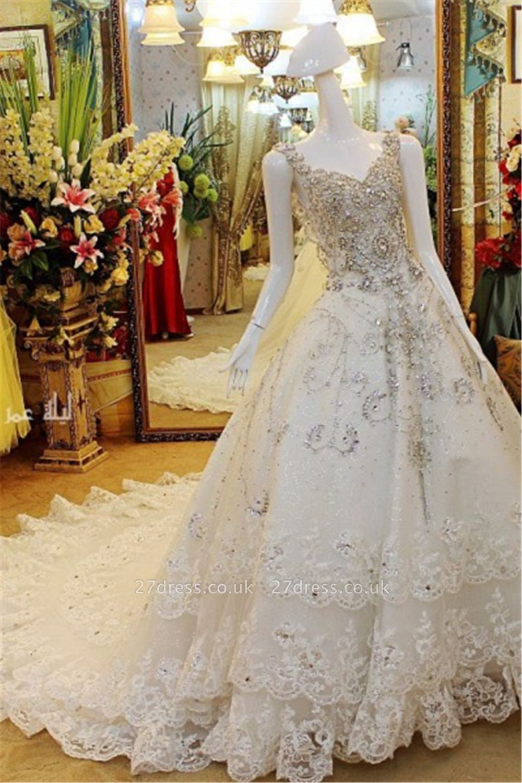A-line Sleeveless V-neck Crystal Beads Appliqued Lace Wedding Dresses UK
