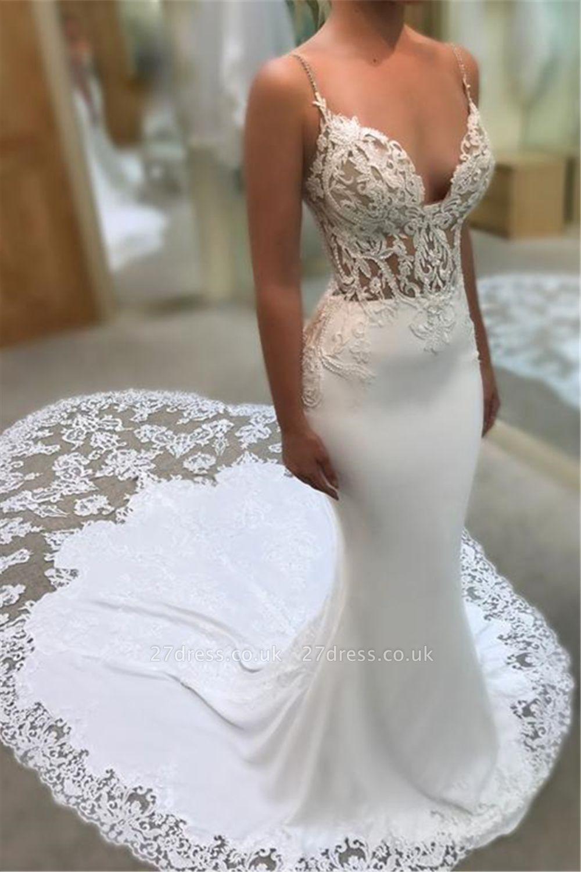 Sexy Mermaid Spaghetti Sleeveless Appliqued Lace Court Train Wedding Dresses UK
