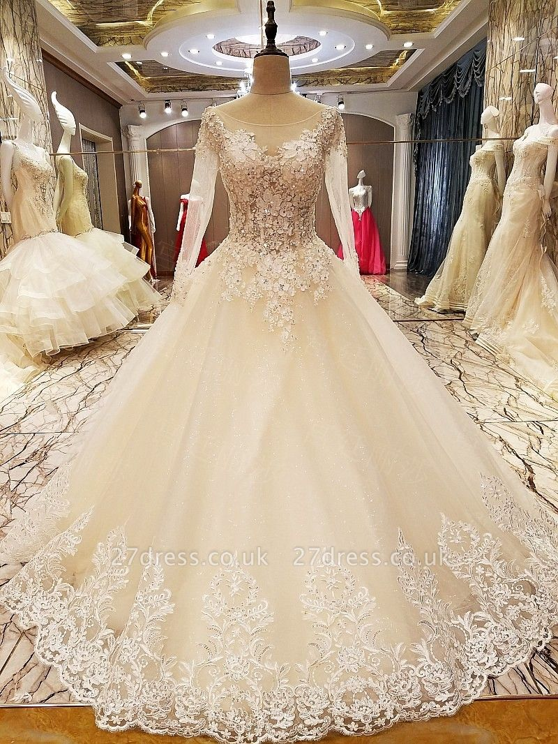 Ball Gown Long Sleeves Appliques Tulle Cheap Lace-up Wedding Dresses UK