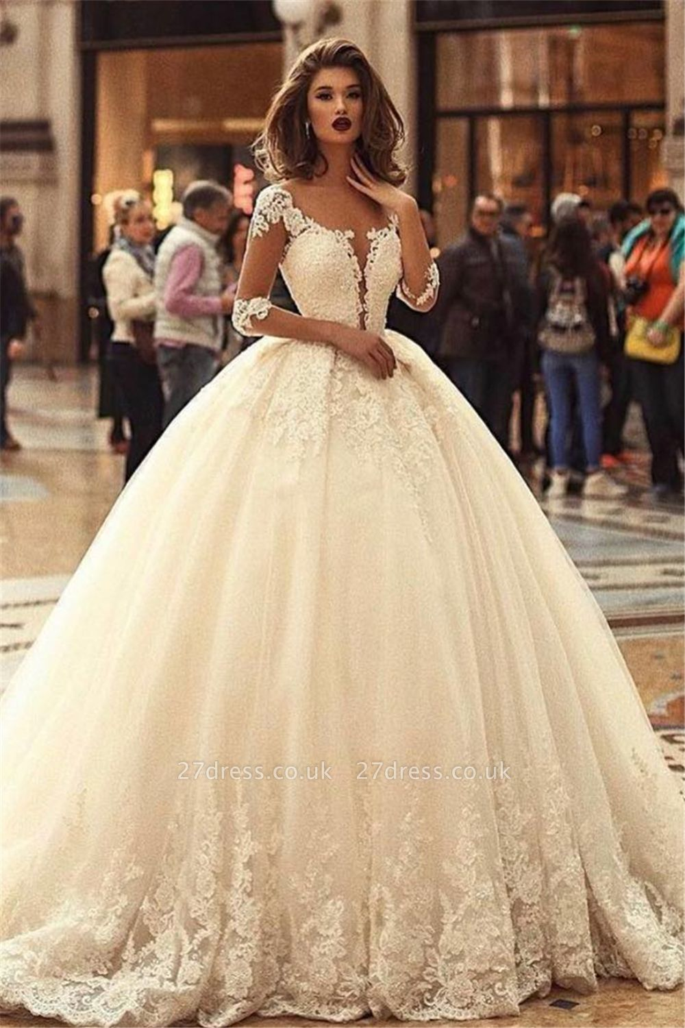 Ball Gown Court Train Appliques Tulle Cheap Wedding Dresses UK with Sleeves