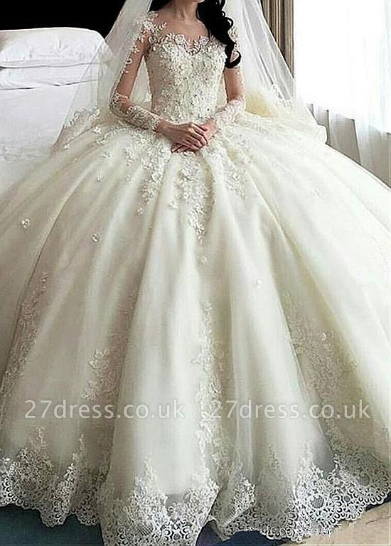 Ball Gown Long Sleeves Appliqued Court Train Wedding Dresses UK