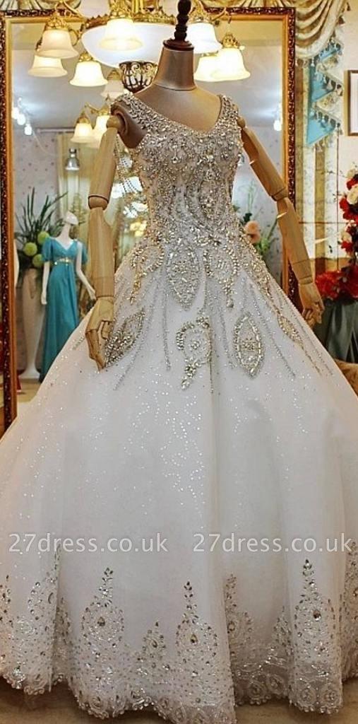 A-line Court Train Sleeveless Beads Appliques Wedding Dresses UK