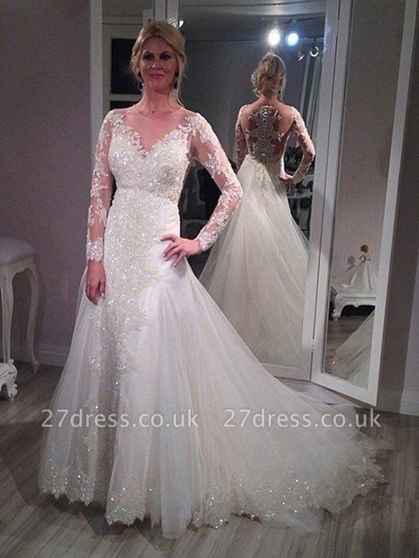 Sweep Train Tulle Cheap Long Sleeves A-Line V-neck Sequin Wedding Dresses UK